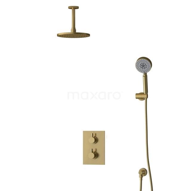 Inbouw Regendoucheset Radius Gold, Thermostaatkraan, 20cm Hoofddouche, Goud BIG55-00155