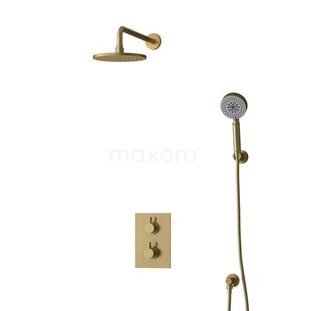Inbouw Regendoucheset Radius Gold, Thermostaatkraan, 20cm Hoofddouche, Goud BIG55-00164