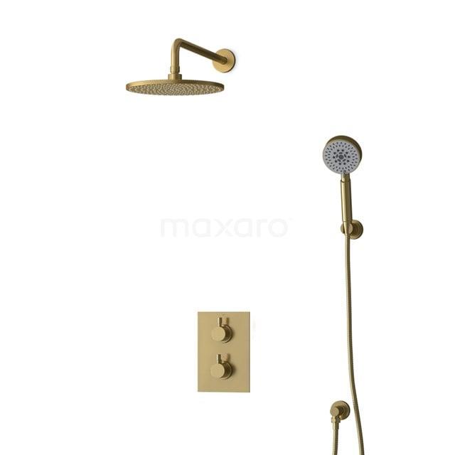 Inbouw Regendoucheset Radius Gold, Thermostaatkraan, 25cm Hoofddouche, Goud BIG55-00167