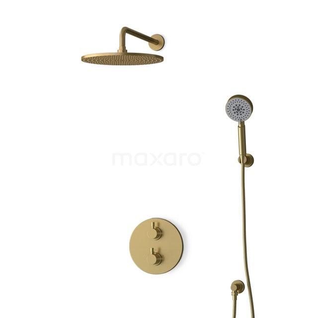 Inbouw Regendoucheset Radius Gold, Thermostaatkraan, 30cm Hoofddouche, Goud BIG55-00169