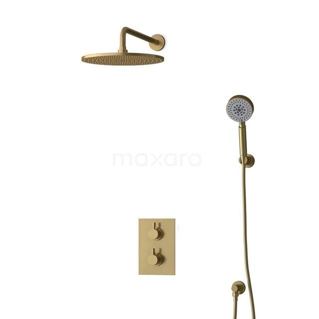 Inbouw Regendoucheset Radius Gold, Thermostaatkraan, 30cm Hoofddouche, Goud BIG55-00170