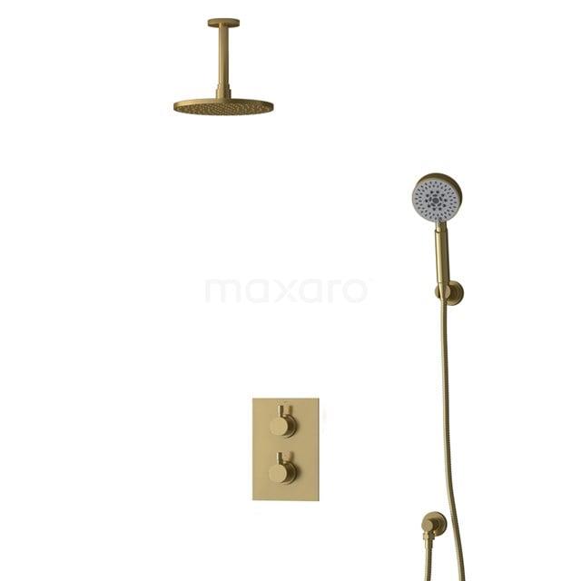 Inbouw Regendoucheset Radius Gold, Thermostaatkraan, 20cm Hoofddouche, Goud BIG55-00173