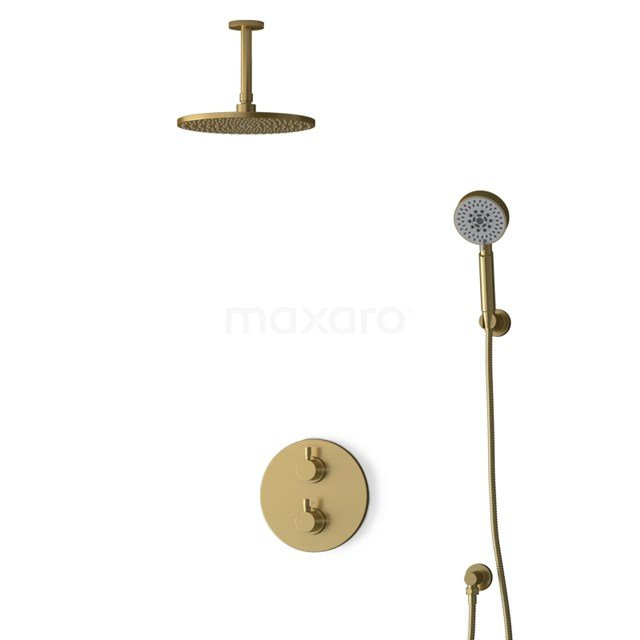 Inbouw Regendoucheset Radius Gold, Thermostaatkraan, 25cm Hoofddouche, Goud BIG55-00175
