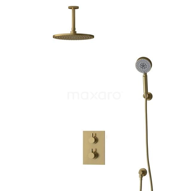 Inbouw Regendoucheset Radius Gold, Thermostaatkraan, 25cm Hoofddouche, Goud BIG55-00176