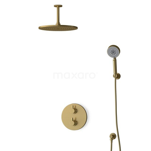 Inbouw Regendoucheset Radius Gold, Thermostaatkraan, 30cm Hoofddouche, Goud BIG55-00178