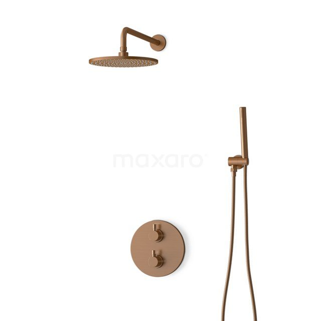 Inbouw Regendoucheset Radius Copper, Thermostaatkraan, 25cm Hoofddouche, Koper BIK55-00002