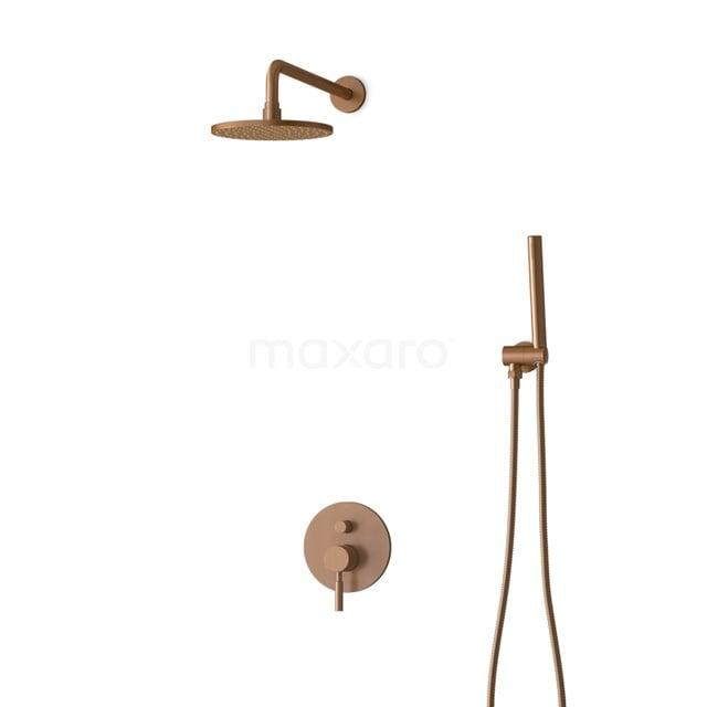 Inbouw Regendoucheset Radius Copper, Eéngreeps Mengkraan, 20cm Hoofddouche, Koper BIK55-00006