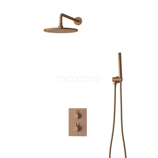 Inbouw Regendoucheset Radius Copper, Thermostaatkraan, 25cm Hoofddouche, Koper BIK55-00007