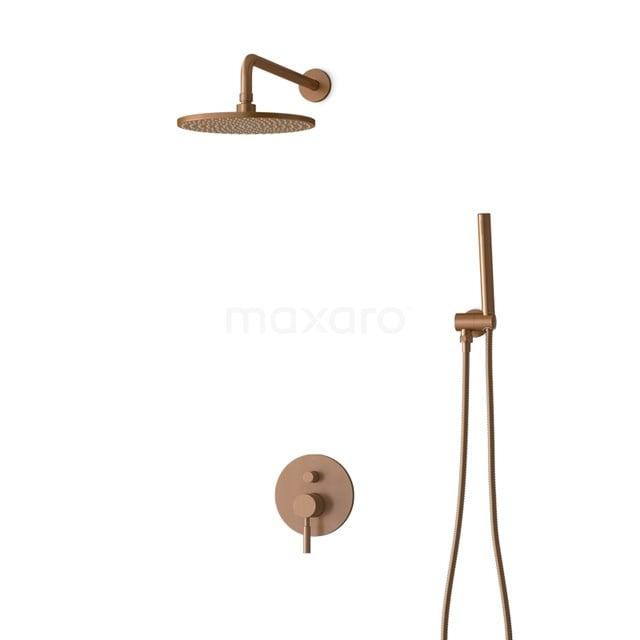 Inbouw Regendoucheset Radius Copper, Eéngreeps Mengkraan, 25cm Hoofddouche, Koper BIK55-00008