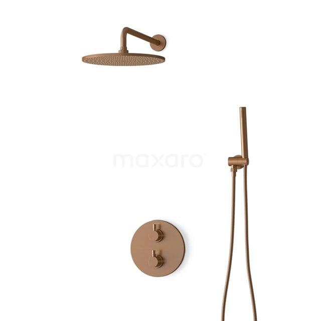 Inbouw Regendoucheset Radius Copper, Thermostaatkraan, 30cm Hoofddouche, Koper BIK55-00009