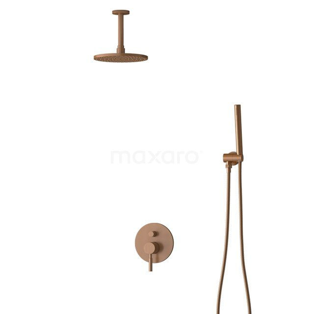 Inbouw Regendoucheset Radius Copper, Eéngreeps Mengkraan, 20cm Hoofddouche, Koper BIK55-00014