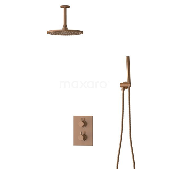 Inbouw Regendoucheset Radius Copper, Thermostaatkraan, 25cm Hoofddouche, Koper BIK55-00016