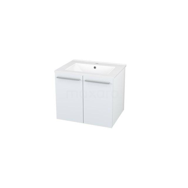 Badkamermeubel 60cm Box Wit 2 Deuren Vlak Wastafel Keramiek BMA007225