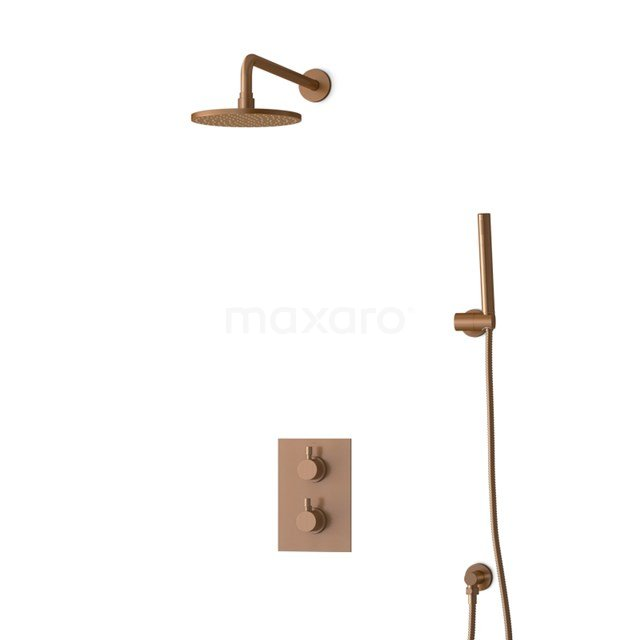 Inbouw Regendoucheset Radius Copper, Thermostaatkraan, 20cm Hoofddouche, Koper BIK55-00021