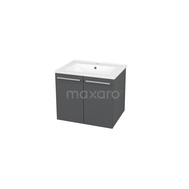 Badkamermeubel 60cm Box Grijs 2 Deuren Vlak Wastafel Keramiek BMA007226