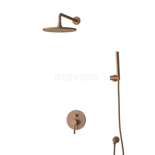 Inbouw Regendoucheset Radius Copper, Eéngreeps Mengkraan, 25cm Hoofddouche, Koper BIK55-00024