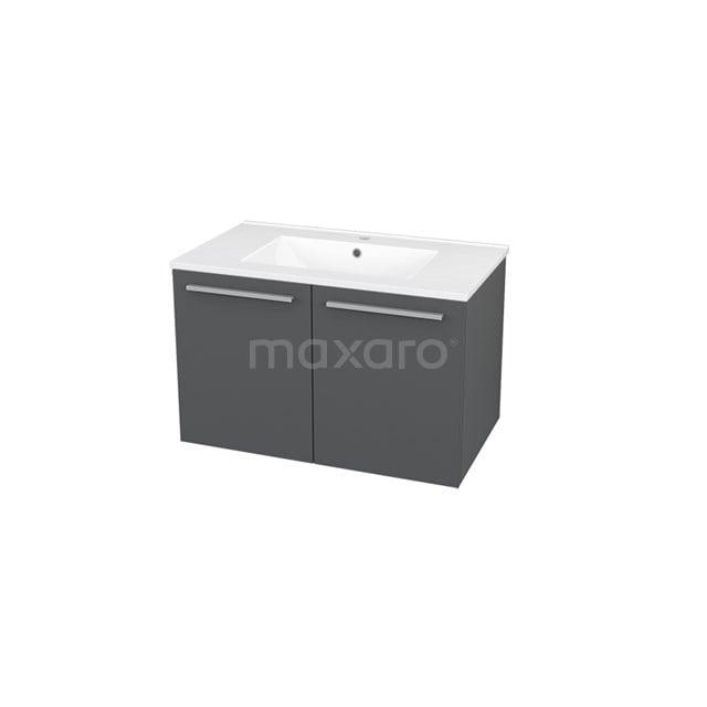Badkamermeubel 80cm Box Grijs 2 Deuren Vlak Wastafel Keramiek BMA007228