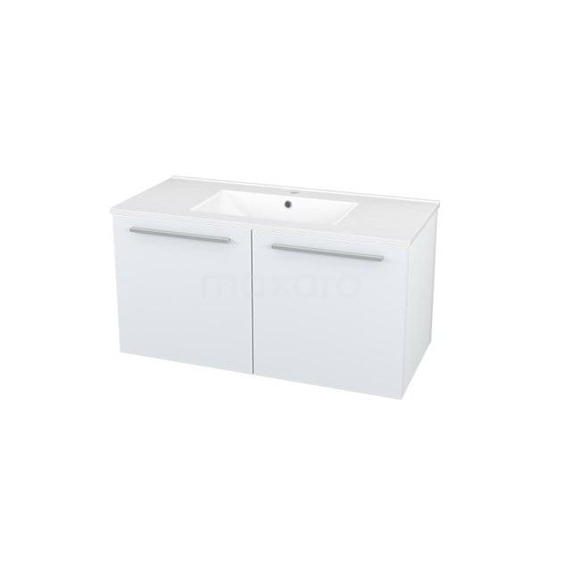 Badkamermeubel 100cm Box Wit 2 Deuren Vlak Wastafel Keramiek BMA007229