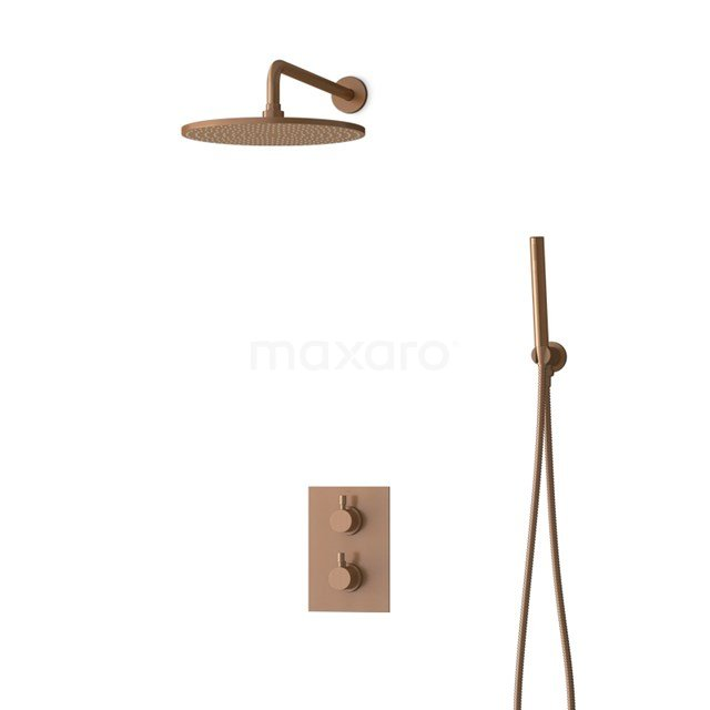 Inbouw Regendoucheset Radius Copper, Thermostaatkraan, 30cm Hoofddouche, Koper BIK55-00044