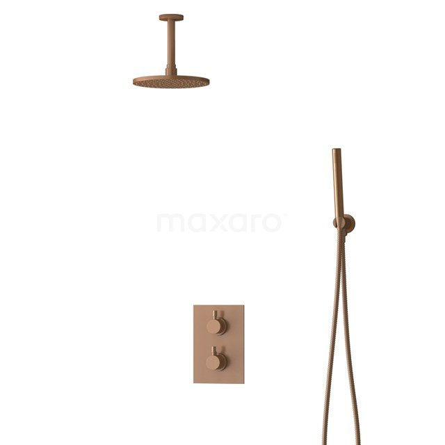 Inbouw Regendoucheset Radius Copper, Thermostaatkraan, 20cm Hoofddouche, Koper BIK55-00047