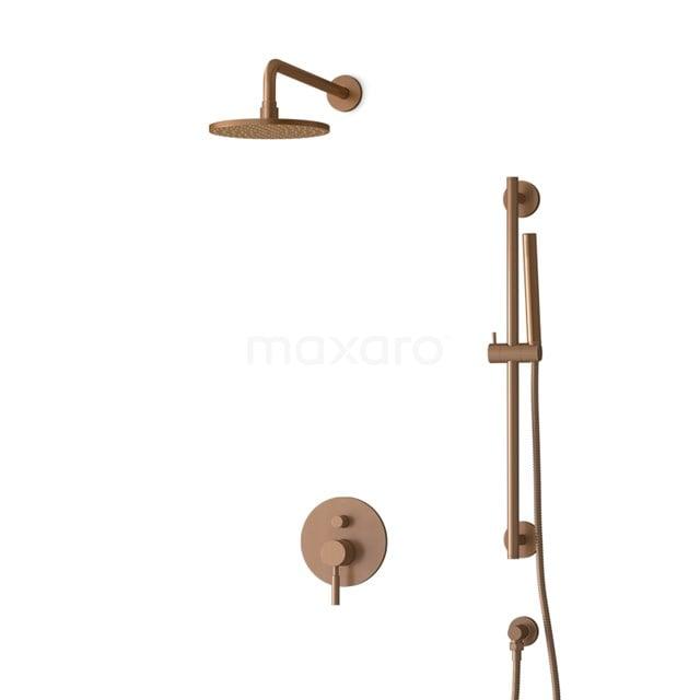 Inbouw Regendoucheset Radius Copper, Eéngreeps Mengkraan, 20cm Hoofddouche, Koper BIK55-00057