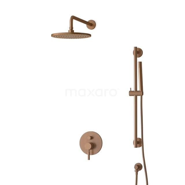 Inbouw Regendoucheset Radius Copper, Eéngreeps Mengkraan, 25cm Hoofddouche, Koper BIK55-00060