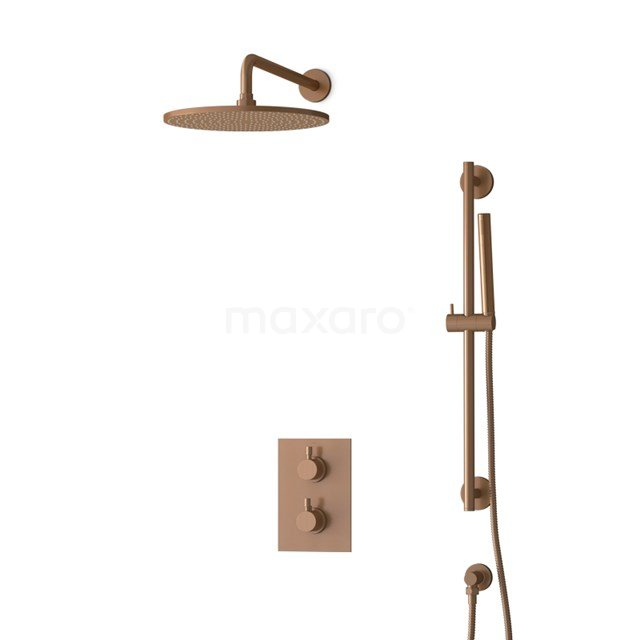 Inbouw Regendoucheset Radius Copper, Thermostaatkraan, 30cm Hoofddouche, Koper BIK55-00062