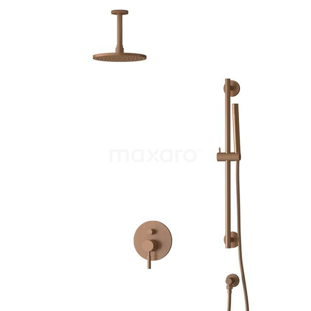 Inbouw Regendoucheset Radius Copper, Eéngreeps Mengkraan, 20cm Hoofddouche, Koper BIK55-00066