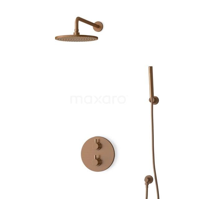Inbouw Regendoucheset Radius Copper, Thermostaatkraan, 25cm Hoofddouche, Koper BIK55-00076
