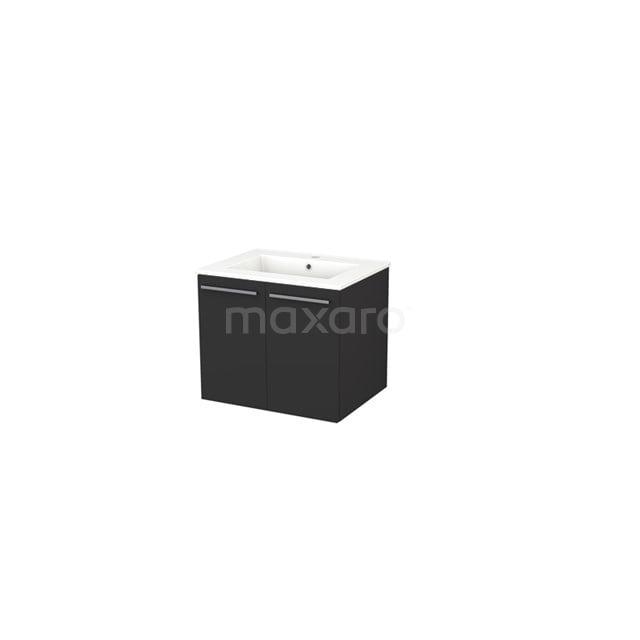 Badkamermeubel 60cm Box Zwart 2 Deuren Vlak Wastafel Keramiek BMA007285