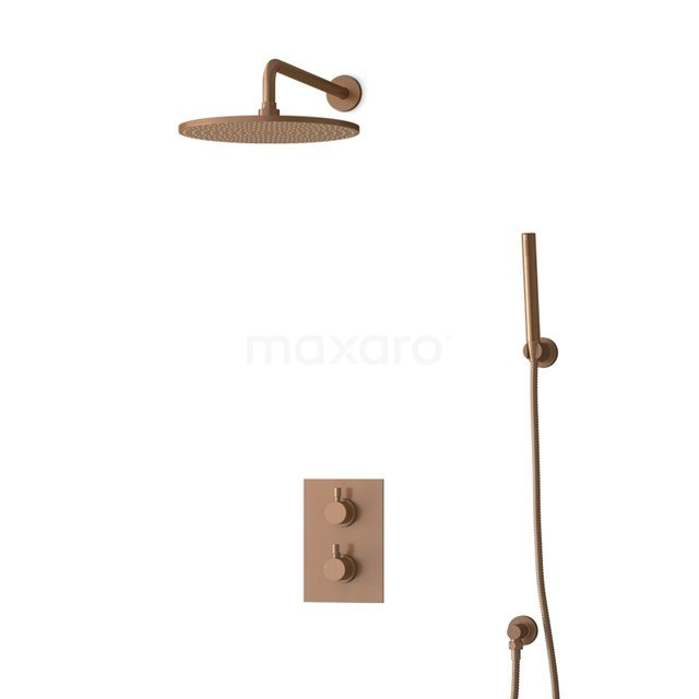 Inbouw Regendoucheset Radius Copper, Thermostaatkraan, 30cm Hoofddouche, Koper BIK55-00080