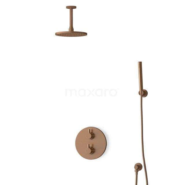 Inbouw Regendoucheset Radius Copper, Thermostaatkraan, 20cm Hoofddouche, Koper BIK55-00082