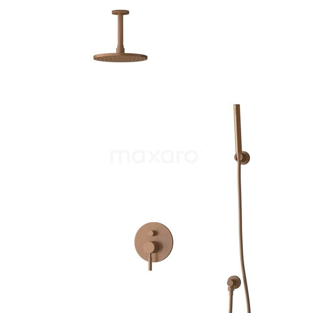 Inbouw Regendoucheset Radius Copper, Eéngreeps Mengkraan, 20cm Hoofddouche, Koper BIK55-00084