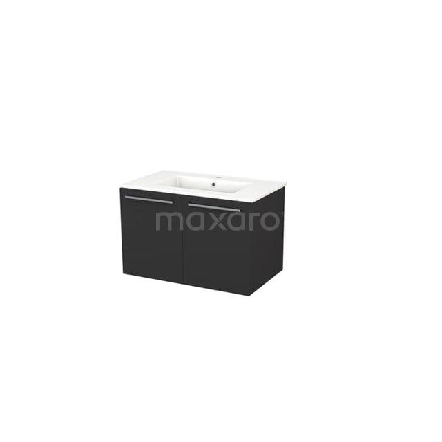 Badkamermeubel 80cm Box Zwart 2 Deuren Vlak Wastafel Keramiek BMA007288