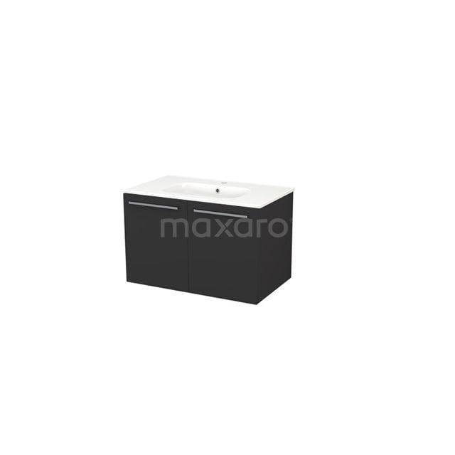 Badkamermeubel 80cm Box Zwart 2 Deuren Vlak Wastafel Keramiek BMA007289