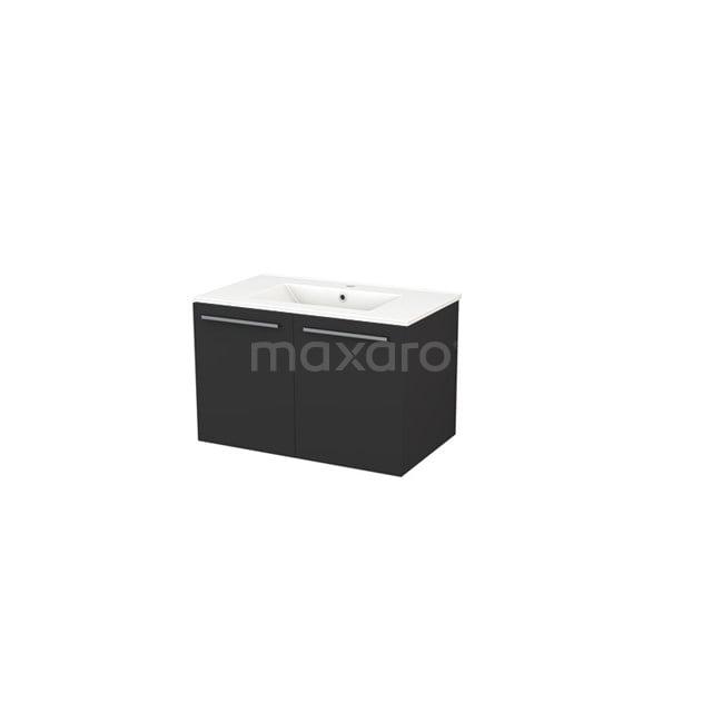 Badkamermeubel 80cm Box Zwart 2 Deuren Vlak Wastafel Keramiek BMA007290