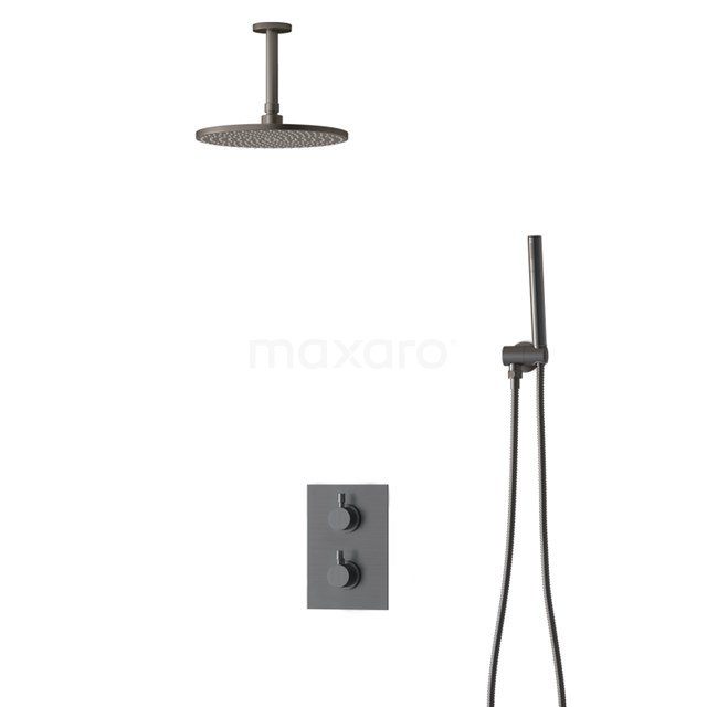 Inbouw Regendoucheset Radius Black Steel, Thermostaatkraan, 25cm Hoofddouche, Zwart Metaal BIM55-00016
