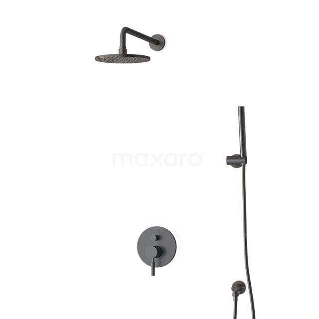 Inbouw Regendoucheset Radius Black Steel, Eéngreeps Mengkraan, 20cm Hoofddouche, Zwart Metaal BIM55-00022