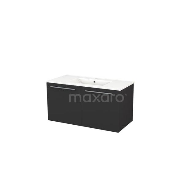 Badkamermeubel 100cm Box Zwart 2 Deuren Vlak Wastafel Keramiek BMA007293