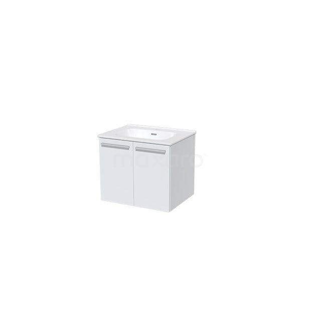 Badkamermeubel 60cm Box Wit 2 Deuren Vlak Wastafel Keramiek BMA005503