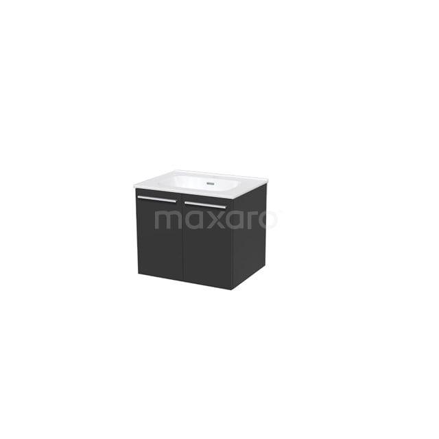 Badkamermeubel 60cm Box Zwart 2 Deuren Vlak Wastafel Keramiek BMA007300