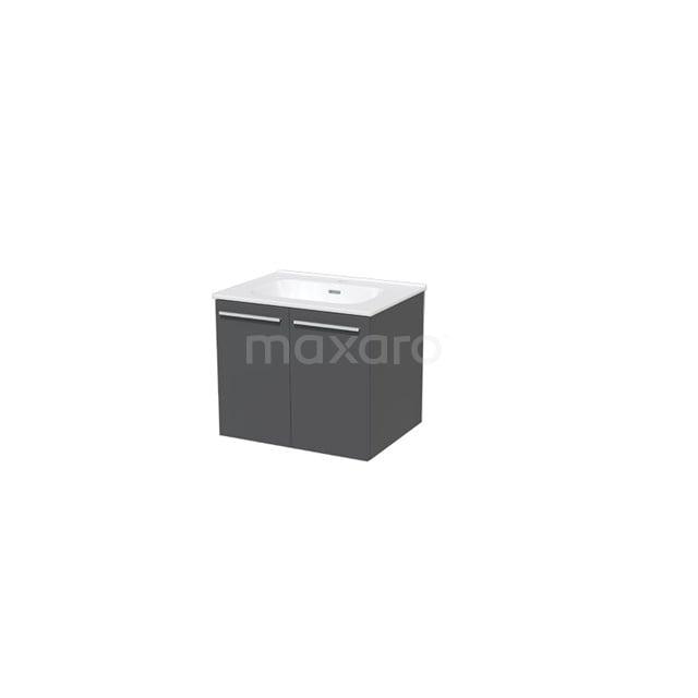 Badkamermeubel 60cm Box Grijs 2 Deuren Vlak Wastafel Keramiek BMA007301