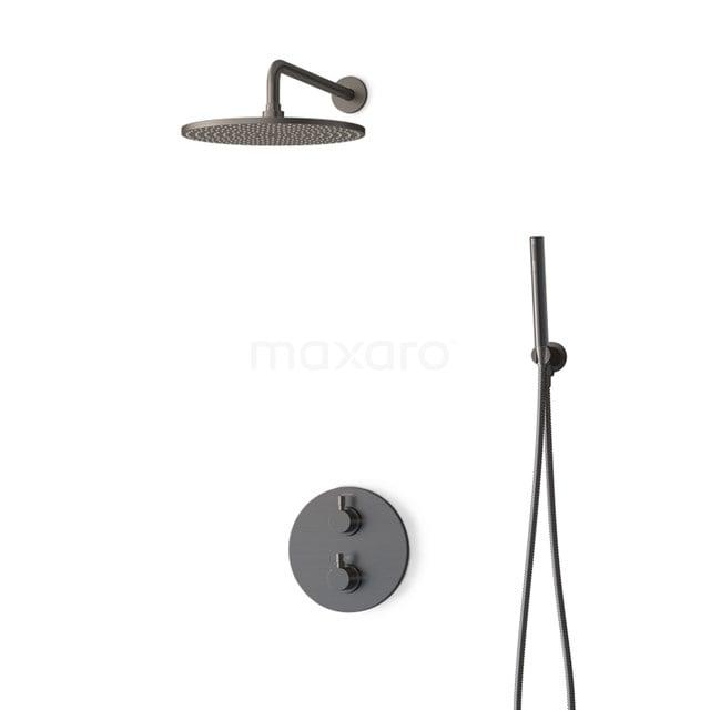 Inbouw Regendoucheset Radius Black Steel, Thermostaatkraan, 30cm Hoofddouche, Zwart Metaal BIM55-00043