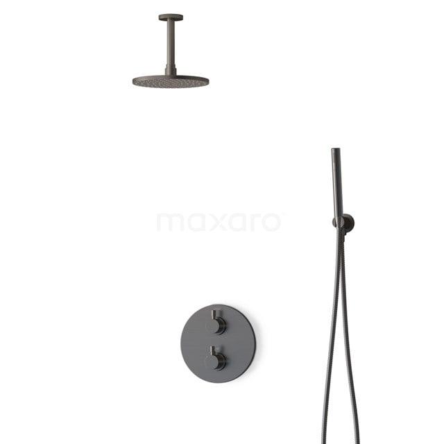 Inbouw Regendoucheset Radius Black Steel, Thermostaatkraan, 20cm Hoofddouche, Zwart Metaal BIM55-00046