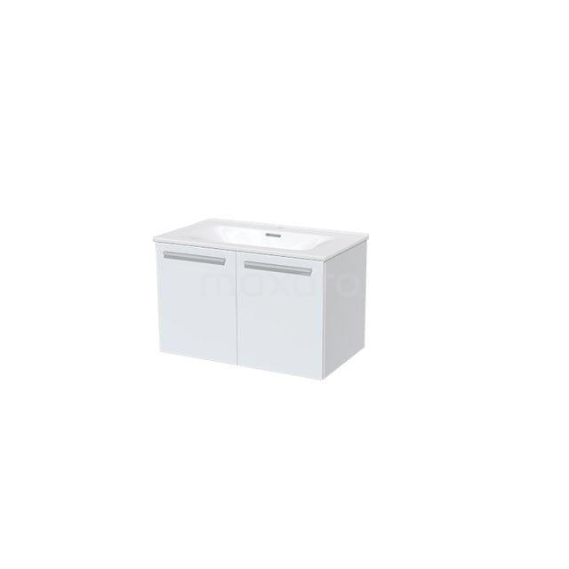 Badkamermeubel 80cm Box Wit 2 Deuren Vlak Wastafel Keramiek BMA007303