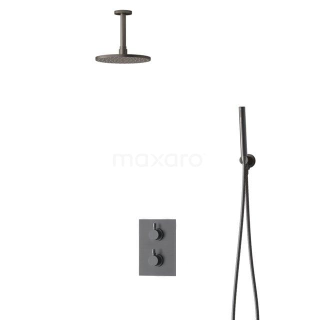 Inbouw Regendoucheset Radius Black Steel, Thermostaatkraan, 20cm Hoofddouche, Zwart Metaal BIM55-00047