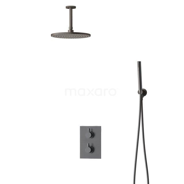 Inbouw Regendoucheset Radius Black Steel, Thermostaatkraan, 25cm Hoofddouche, Zwart Metaal BIM55-00050
