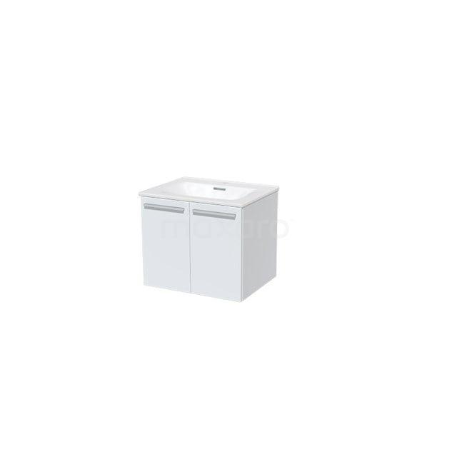 Badkamermeubel 60cm Box Wit 2 Deuren Vlak Wastafel Keramiek BMA007304