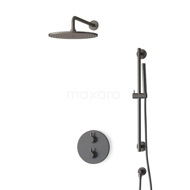 Inbouw Regendoucheset Radius Black Steel, Thermostaatkraan, 30cm Hoofddouche, Zwart Metaal BIM55-00061