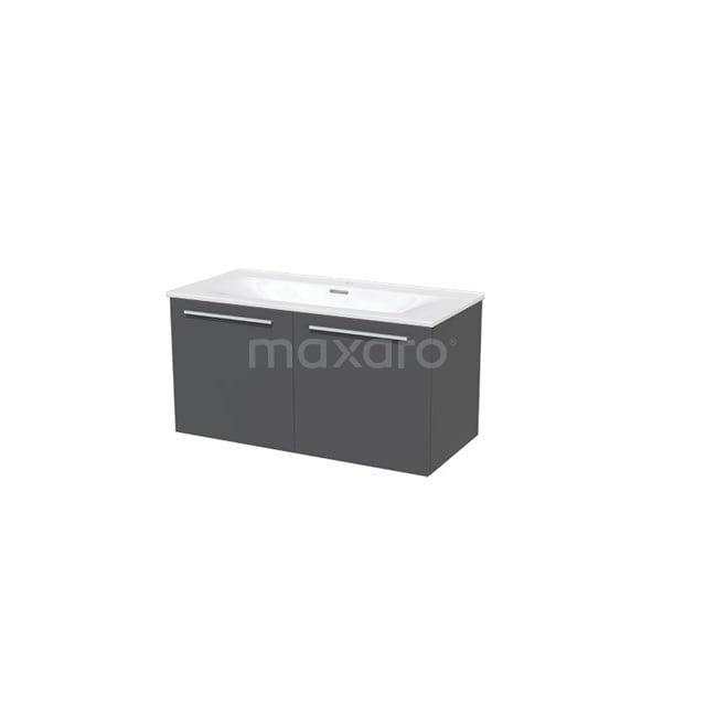 Badkamermeubel 100cm Box Grijs 2 Deuren Vlak Wastafel Keramiek BMA007306